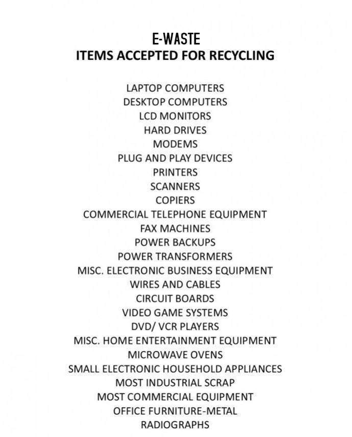 E-waste Items Accepted